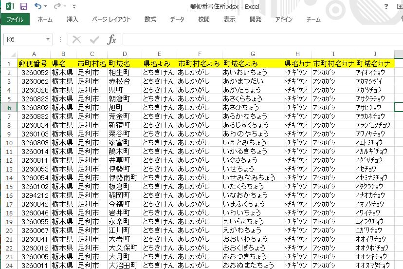 郵便番号住所Excel(kintone)